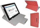 """Polkadot Hoes  voor de Aoc Breeze Tablet Mw1031 3g, Diamond Class Cover met Multi-stand, Rood, merk i12Cover"""