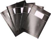 5x A4 ruitjes schriften - Zwart - 10 x 10mm