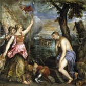 Titian : Religion Saved by Spain (1510) Canvas Print