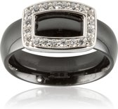 Classics&More Keramieken Ring - Maat 50 - Met Gerhodineerd Zilver En Zirkonia