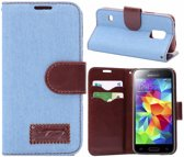 Movizy Denim wallet standcase Samsung Galaxy S5 - lichtblauw