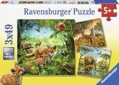 Ravensburger Dieren van de wereld Drie puzzels van 49 stukjes