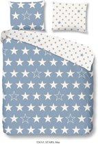 Good Morning 5263-F met sterren - dekbedovertrek - lits jumeaux - 240x200/220 cm  - katoen flanel - blauw