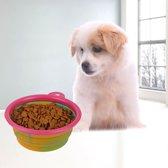 opvouwbaar voedingsbakje hond/kat (roze)