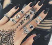 Ringenset 10 stuks zilverkleurig / zwart - sierlijk - ying yang