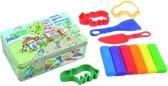Fantasie klei + accessoires in blikke doos klein