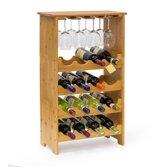 relaxdays - Wijnrek bamboe - Flessenrek - Wijn rek design 16 flessen + 12 glazen
