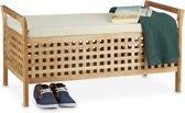 relaxdays bank met opslagruimte - notenhout - met kussen - 46,5 x 92,6 x 49 cm - zitbank