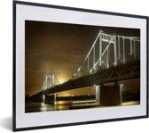 Foto in lijst - De brug van Krefeld in Duitsland fotolijst zwart met witte passe-partout klein 40x30 cm - Poster in lijst (Wanddecoratie woonkamer / slaapkamer)
