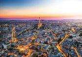 Fotobehang City Paris Sunset Eiffel Tower | XL - 208cm x 146cm | 130g/m2 Vlies