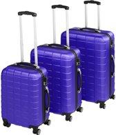 TecTake - kofferset Trolleyset 3-dlg hardshell blauw - 402675