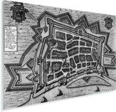 Een historische oude stadskaart van Venlo in het zwart wit Plexiglas - Plattegrond 160x120 cm - Foto print op Glas (Plexiglas wanddecoratie) XXL / Groot formaat!