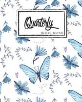 Bullet Journal Dot Grid, Quarterly Guided, Blue Butterfly Effect, Composition Notebook, 8 X 10, 90 Page