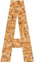 Kleefletter - plakletter - prikbord - kurk - vegan - letter A - 28 cm hoog