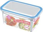 2x Voorraad/vershoudbakjes 2,5 liter transparant plastic/kunststof - Kiev - Luchtdicht/hermetisch afgesloten vershouddoos bakje - Mealprep - Maaltijden bewaren