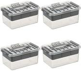 Sunware Q-line Multi-opbergbox 6 liter transparant / metaal 4 stuks