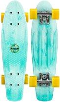 """Nijdam Plastic Pennyboard Splash Dye 22.5"""" - Flipgrip-board - Mintgroen/Geel"""