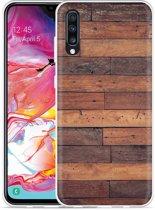 Galaxy A70 Hoesje Houten planken