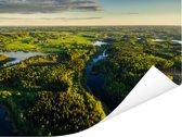 Luchtfoto van het landschap in het Nationaal park Gauja in Letland Poster 160x120 cm - Foto print op Poster (wanddecoratie woonkamer / slaapkamer) XXL / Groot formaat!