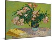 Oleanders - Schilderij van Vincent van Gogh Aluminium 80x60 cm - Foto print op Aluminium (metaal wanddecoratie)