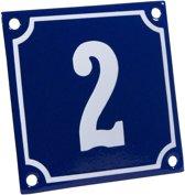 Emaille huisnummer blauw/wit nr. 2 10x10cm