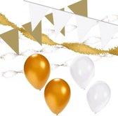Wit/Gouden versiering pakket XL - ballonnen / slingers en vlaggenlijnen