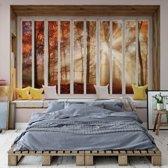 Fotobehang 3D Window View Autumn Forest   VEXXL - 312cm x 219cm   130gr/m2 Vlies