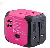 JustAnotherProduct Universele Wereldstekker met zekering - 2 USB poorten - Reisadapter - 150+ landen - Roze
