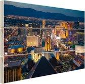 Luchtfoto verlicht stadsbeeld Las Vegas Hout 160x120 cm - Foto print op Hout (Wanddecoratie) XXL / Groot formaat!