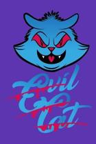 Evil Cat: 6'' x 9'' Journal, 120 lined pages, Purple Background