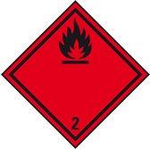 Sticker 'Kl. 2. 1 Ontvlambare gassen', verpakkingsetiket, 250 x 250 mm