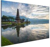 Zonsopkomst bij Bratan tempel bali Aluminium 90x60 cm - Foto print op Aluminium (metaal wanddecoratie)