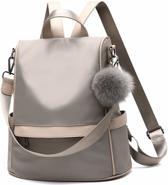 Anti-diefstal rugzak - Rugtas dames - Waterdicht - Klein - Anti-theft backpack - Rug-, Schouder-, Handtas in één - Nylon - incl. verstelbare riem - Beige - Glennoo