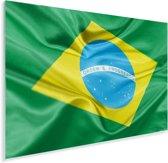 Close-up van de vlag van Brazilië Plexiglas 90x60 cm - Foto print op Glas (Plexiglas wanddecoratie)
