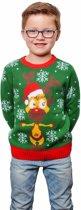 Groene kersttrui met rendier voor kinderen - foute kersttruien 7/8 jaar (128/134)
