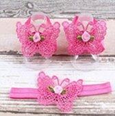 Baby Haarbandje + Voetbandjes Vlinder - Donker Roze