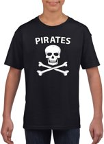 Piraten verkleed shirt zwart jongens en meisjes - Piraten kostuum kinderen - Verkleedkleding L (146-152)