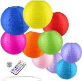Nylon Lampionnen - 10 stuks - 25 en 35cm - Incl. LED met afstandbediening - Incl. ophanghaakjes