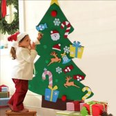 Kinder kerstboom –  Inclusief klittenband speelgoed – Muur kerstboom - Kerstboom voor kinderen – Muurboom – Kerstcadeau - Vilten kerstboom voor kinderen