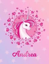Andrea: Unicorn Sheet Music Note Manuscript Notebook Paper - Magical Horse Personalized Letter I Initial Custom First Name Cov