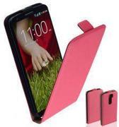 TCC Luxe Leder hoesje LG G2 Flip Case/Cover - Roze
