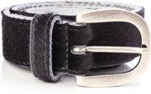 Tannery Leather Dierenprint Koehuid Damesriem Leer - Zwart - 105 cm