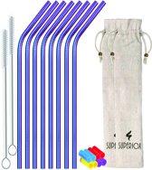 Superiox RVS Rietjes - 8 Rietjes Gebogen MultiColor - 8 Siliconen Tips, Incl 2 Schoonmaakborstels en 2 Linnenzakjes - Herbruikbaar en duurzaam