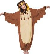 KIMU Onesie uil pak kostuum bruin - maat S-M - uilenpak jumpsuit huispak festival