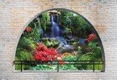 Fotobehang Waterfall Lake Arch View | M - 104cm x 70.5cm | 130g/m2 Vlies