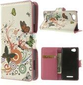Butterfly wit wallet hoesje Sony Xperia M