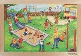 Houten raampuzzel speelplaats