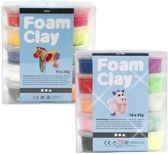 Foam Clay Glitter 10 x 35 gr + Foam Clay Pakket 10 x 35 gr