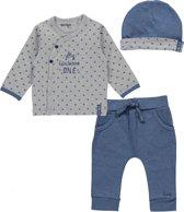 Dirkje Basics Jongens Set (3delig) Overslag Shirt en Broek Blauw met Mutsje - Maat 50