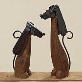Honden - 2 set - Hout - Metaal - 31 cm - 24,5 cm